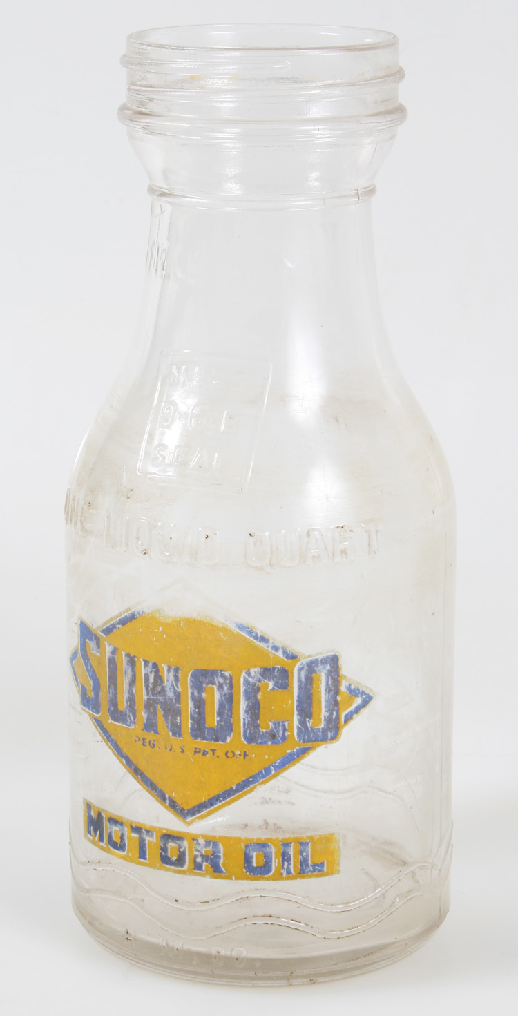 Vintage Sunoco One Quart Glass Motor Oil Bottle Ebay