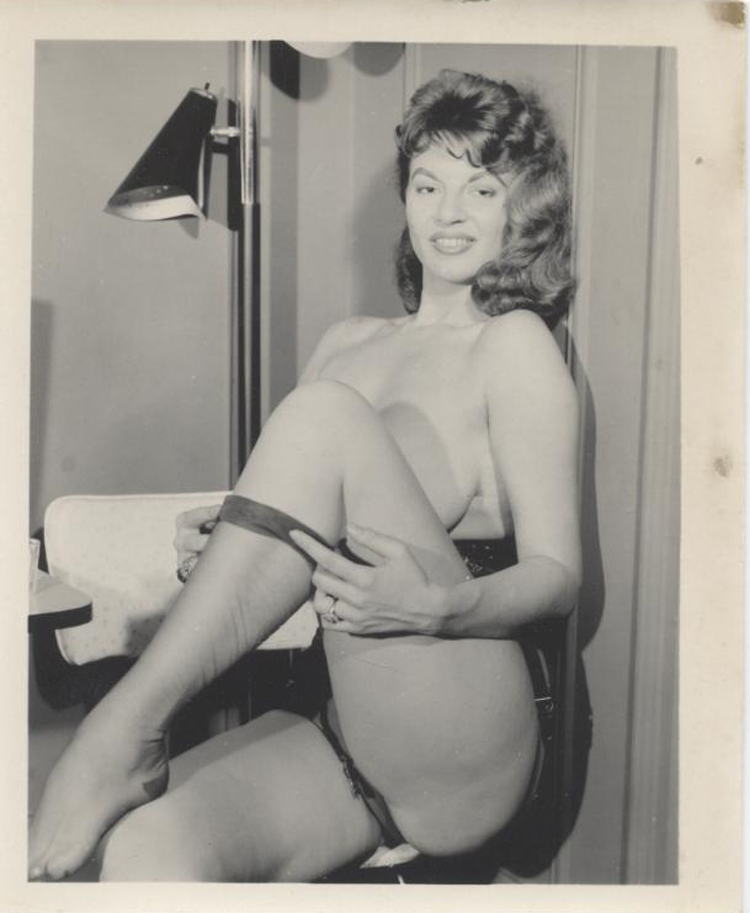 Original Vintage Silver Print Of Sultry Topless Woman In Stockings Bji11175
