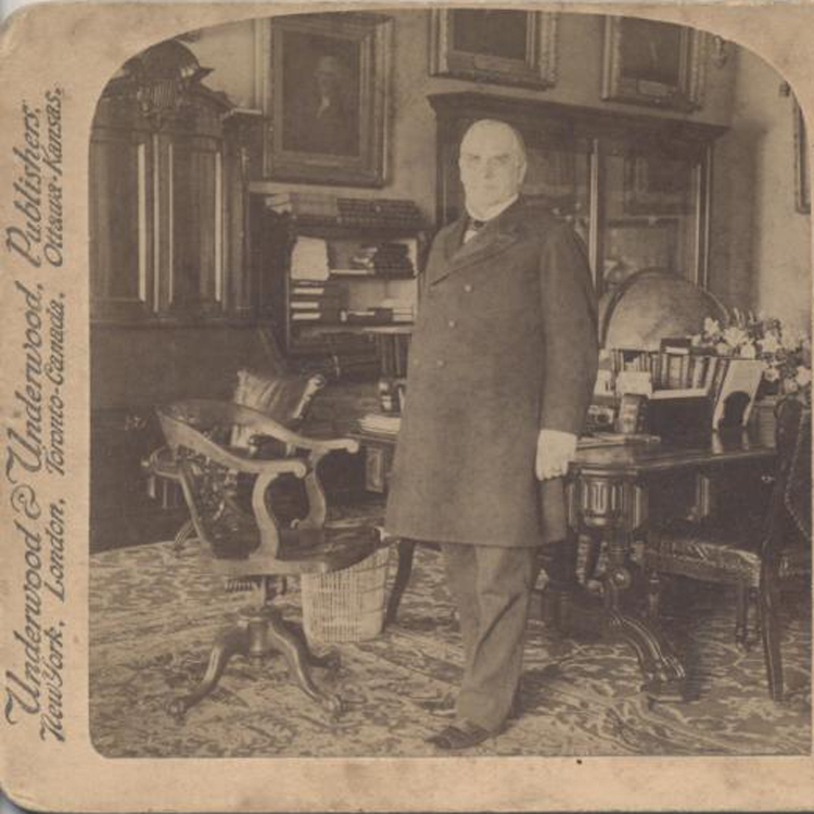 1900 STEREOVIEW OF PRESIDENT WILLIAM MCKINLEY IN THE WHITE HOUSE CABINET  ROOM (bji17393)