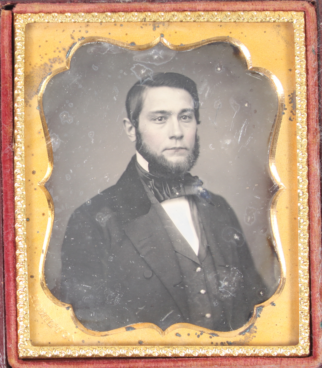 Tinted face A 6th plate daguerreotype of a man in a complete  case Full beard Fashion.