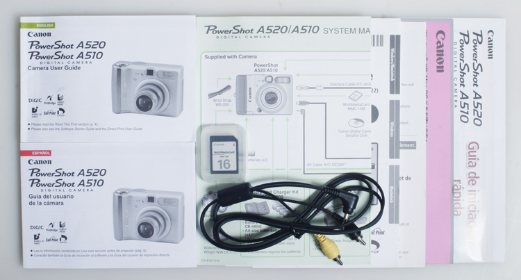 canon powershot a520 a510 user guide with sync cord and media card rh ebay com canon powershot a520 instruction manual Canon PowerShot Camera