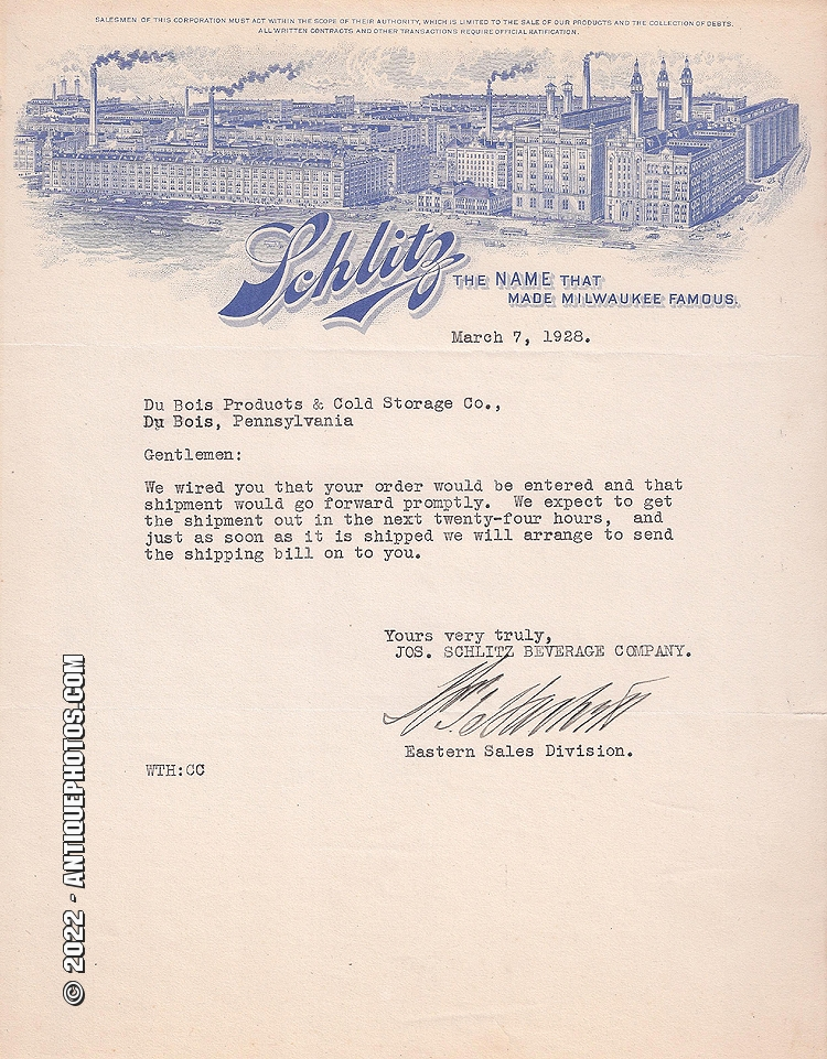 Details about SCHLITZ DU BOIS PRODUCTS AND COLD STORAGE CO  PA, LETTER,  SIGNED, MARCH 7 1928